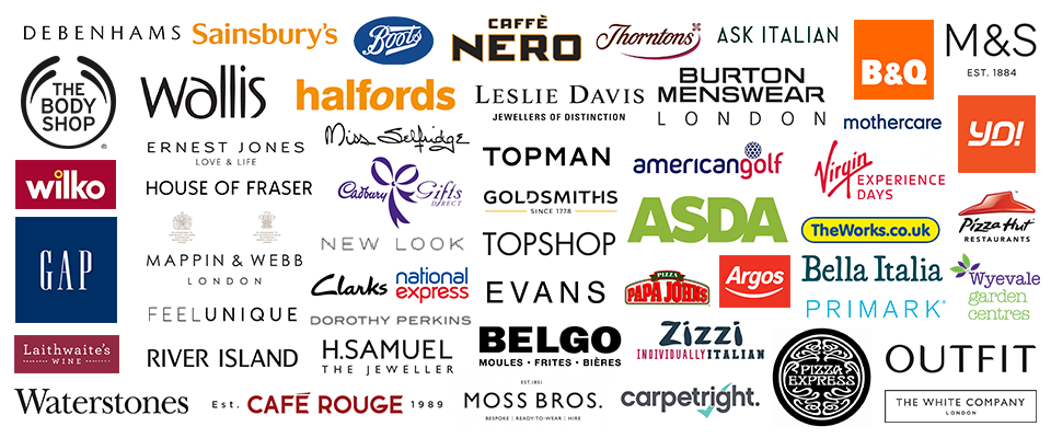Image with logos of cashback (cash back), offers, deals or discounts at Asda, Sainsburys (Sainsbury's), Mothercare, River Island, Argos, Boots, M&S (Marks and Spencer, Marks & Spencer), Wilko, B&Q (B and Q), GAP, New Look, YO Sushi, Top Man, Homebase, Nero (Café Nero), Outfit, The Works, TopShop (Top Shop), Debenhams, Evans (Evans Cycles), House of Fraser, Watersones, ToysRus (Toys R Us, Toys are us, Toysr'us), Thornton's (Thorntons), Café Rouge (Cafe Rouge), Zizzi (Zizzis), Wallis, Moss Bros (Moss Brothers), Miss Selfridge, Belgo (Belgos), Halffords (Halford), Bella Italia, Evans, Pizza Express, Goldsmiths, Leslie Davis (Lesley Davis, H Samuel, Treat Me (treatme), Marriott Hotels, Burton, Hotel Voucher Shop, Ernest Jones, BabiesRus (Babies R Us, Babies are Us, Babiesr'us), Papa Johns, BHS, Mappin & Webb (Mappin Webb), Carpetright (Carpet Right), Sleepright (Sleep Right), Dorothy Perkins, TuneTribe (Tune Tribe), Virgin Experience Days