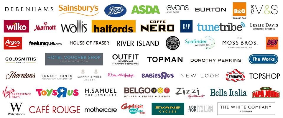 Image with logos of cashback (cash back), offers, deals or discounts at Asda, Sainsburys (Sainsbury's), Mothercare, River Island, Argos, Boots, M&S (Marks and Spencer, Marks & Spencer), Wilko, B&Q (B and Q), GAP, New Look, YO Sushi, Top Man, Homebase, Nero (Café Nero), Outfit, The Works, TopShop (Top Shop), Debenhams, Evans (Evans Cycles), House of Fraser, Watersones, ToysRus (Toys R Us, Toys are us, Toysr'us), Thornton's (Thorntons), Café Rouge (Cafe Rouge), Zizzi (Zizzis), Wallis, Moss Bros (Moss Brothers), Miss Selfridge, Belgo (Belgos), Halffords (Halford), Bella Italia, Evans, Pizza Express, Goldsmiths, Leslie Davis (Lesley Davis, H Samuel, Treat Me (treatme), Marriott Hotels, Burton, Hotel Voucher Shop, Ernest Jones, BabiesRus (Babies R Us, Babies are Us, Babiesr'us), Papa Johns, BHS, Mappin & Webb (Mappin Webb), Carpetright (Carpet Right), Sleepright (Sleep Right), Dorothy Perkins, TuneTribe (Tune Tribe), Virgin Experience Days